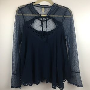 Free People Lace Mesh Blue Long Sleeve Top Medium